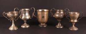 Five Sterling Silver Two Handled Golf Trophies