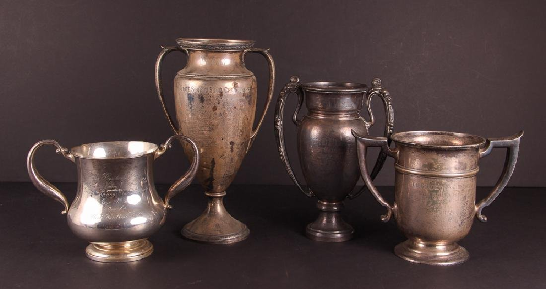 Four Two Handled Sterling Golf Trophies