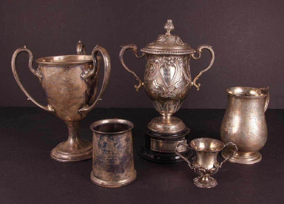 Five English Sterling Silver Golf Trophies