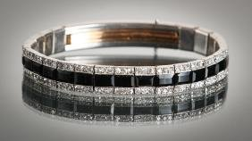 Art Deco Platinum Diamond and Onyx Bracelet