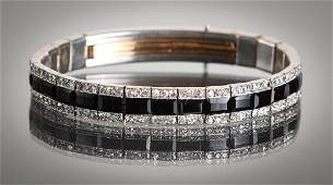 Art Deco Platinum Diamond and Onyx Bracelet