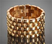 Vintage 18K Gold Wide Link Bracelet