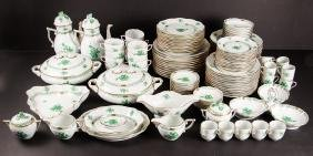 Large Service Herend Green Chinese Bouquet Dinnerware