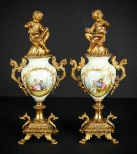 Pair Gilt Bronze and Porcelain Garniture