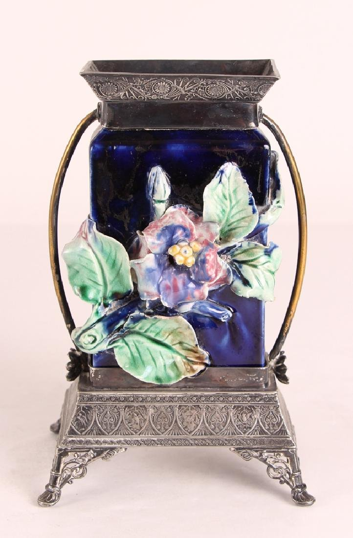 Majolica Vase With Silverplated Mounts