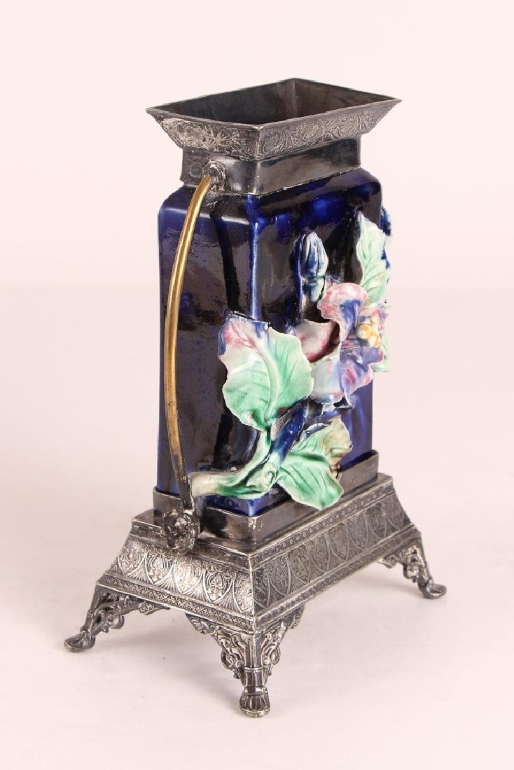Majolica Vase With Silverplated Mounts - 2