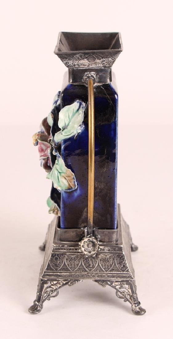 Majolica Vase With Silverplated Mounts - 5
