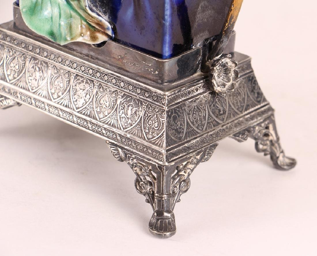 Majolica Vase With Silverplated Mounts - 8