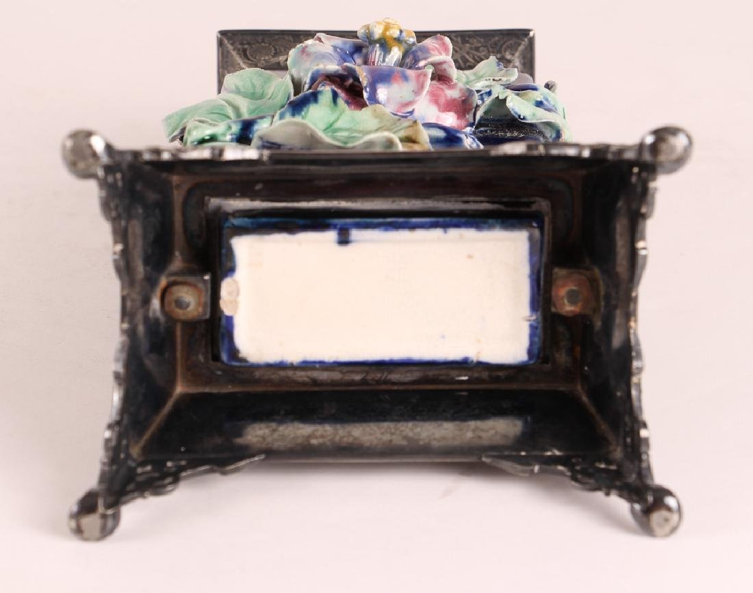 Majolica Vase With Silverplated Mounts - 9