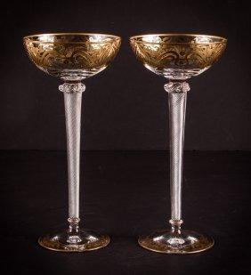 Two Venetian Glass Goblets