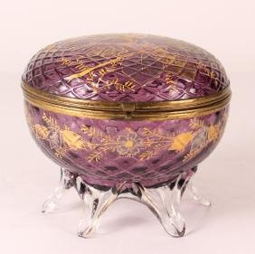 Large Amethyst Glass Footed Dresser Jar