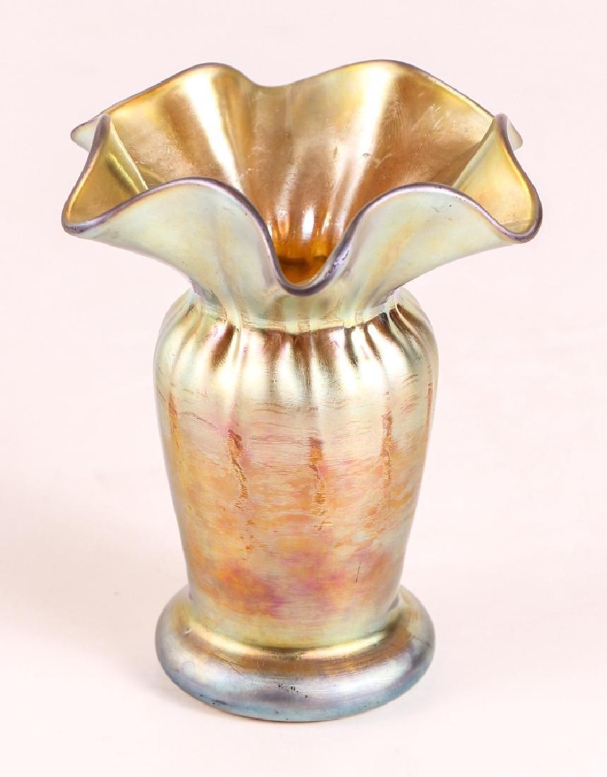 Steuben Aurene Ruffled Edge Vase