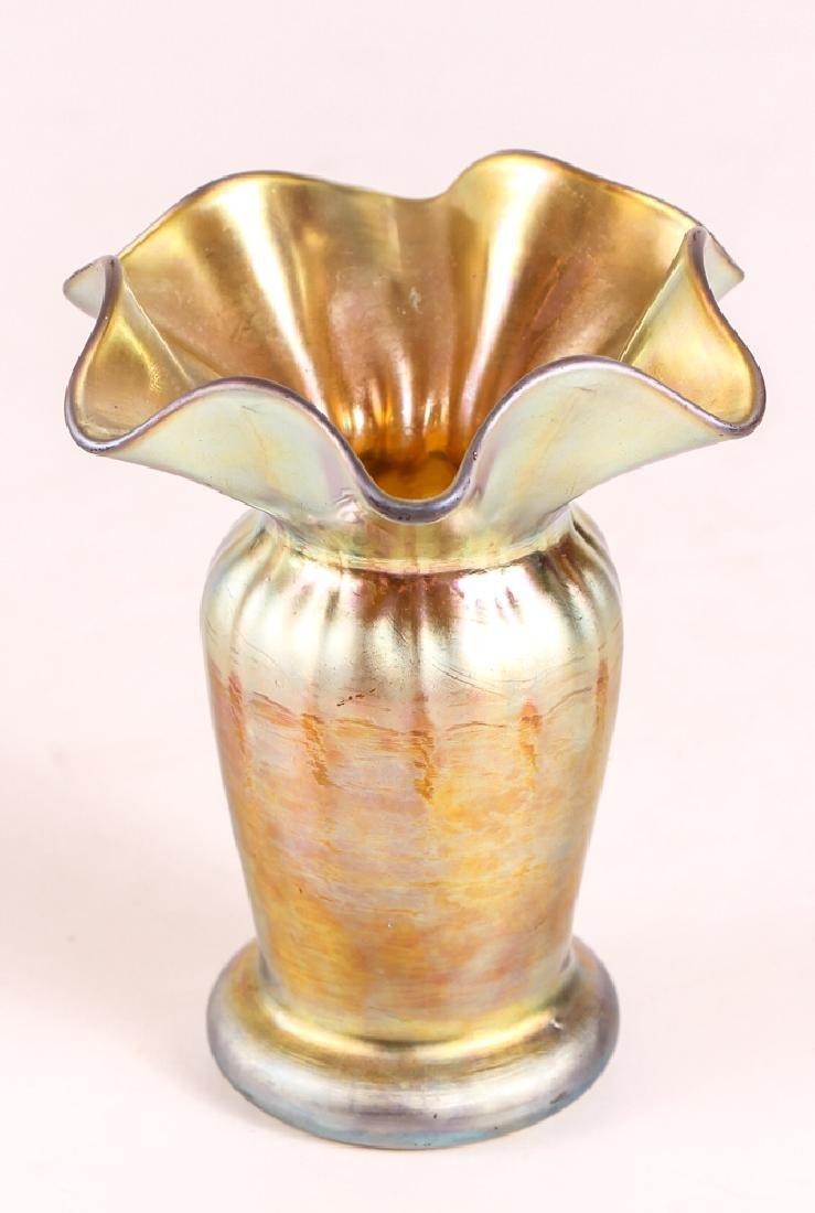 Steuben Aurene Ruffled Edge Vase - 2