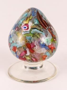 Millefiori Blown Glass Pedestal Paperweight