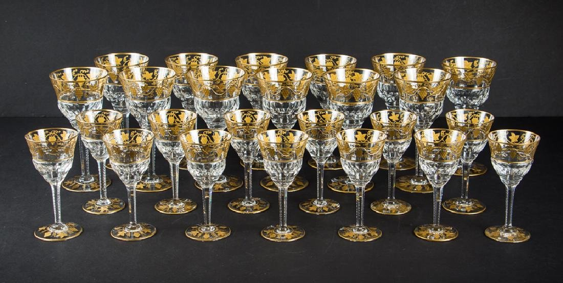 Twenty Six Val St Lambert Gold Encrusted Stemware