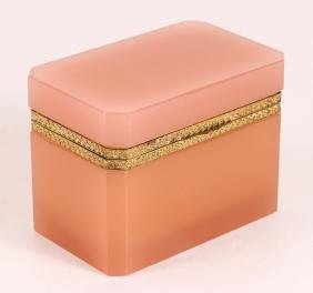 French Pink Opaline Glass Box