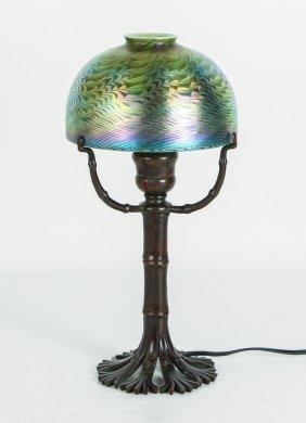Tiffany Damascene Lamp with Bamboo Base