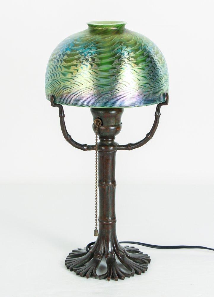 Tiffany Damascene Lamp with Bamboo Base - 2