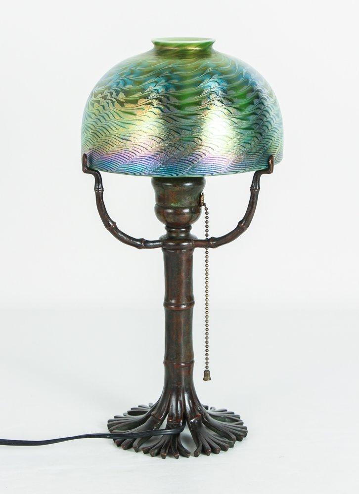 Tiffany Damascene Lamp with Bamboo Base - 3