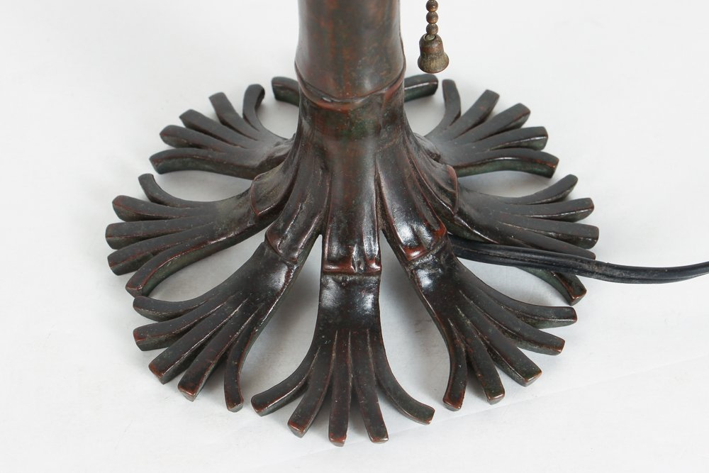 Tiffany Damascene Lamp with Bamboo Base - 5