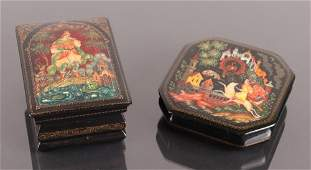 Two Russian Lacquer Fairy Tale Boxes