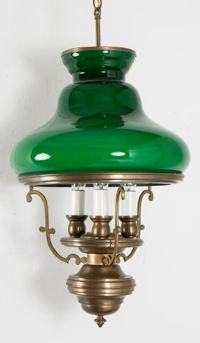 Brass and Cased Green Glass Lantern Style Fixture
