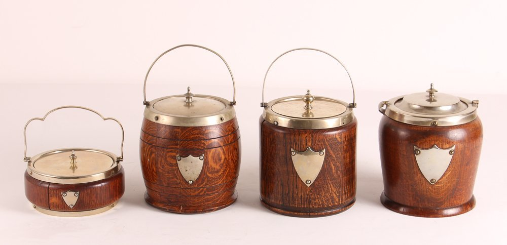 Four Oak and Silverplate English Biscuit Barrels