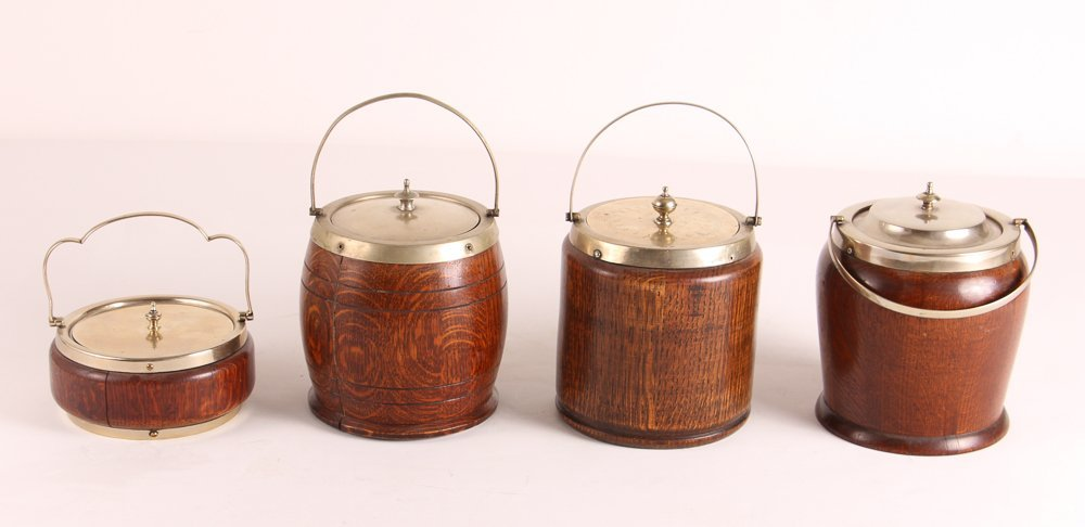 Four Oak and Silverplate English Biscuit Barrels - 2