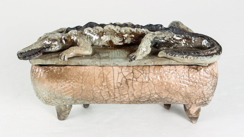 Ceramic Box with Alligator Top