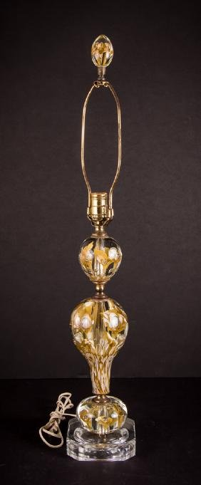 St Clair Glass Paperweight Lamp