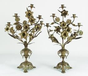 Pair of Brass Floral Candelabra Garnitures