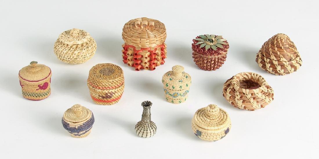 12 Miniature Woven Baskets