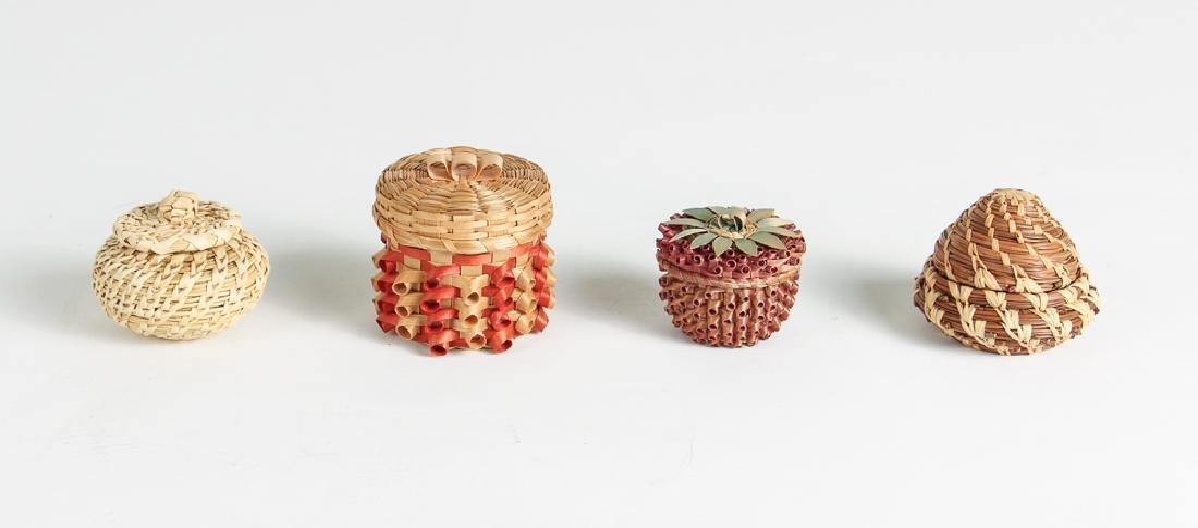 12 Miniature Woven Baskets - 2