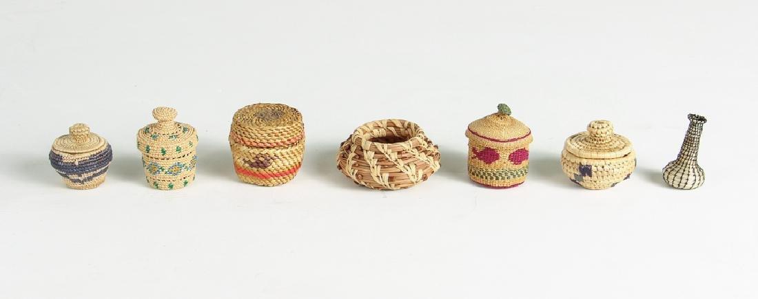 12 Miniature Woven Baskets - 4