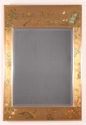 LaBarge Eglomise Chinoserie Mirror