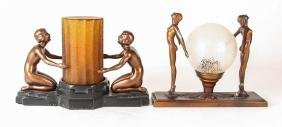 Two Art Deco Figural Lamps