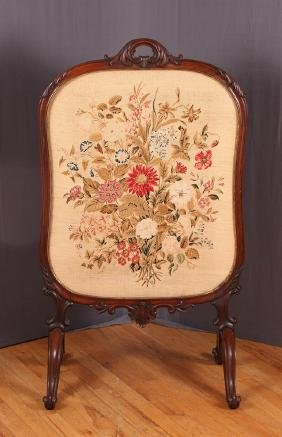 Rosewood Needlepoint Fire Screen