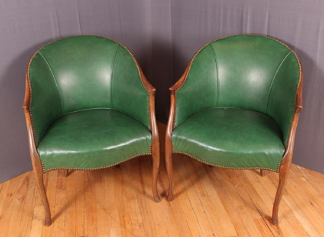 Pair of Green Leather Barrel Back Club Chairs