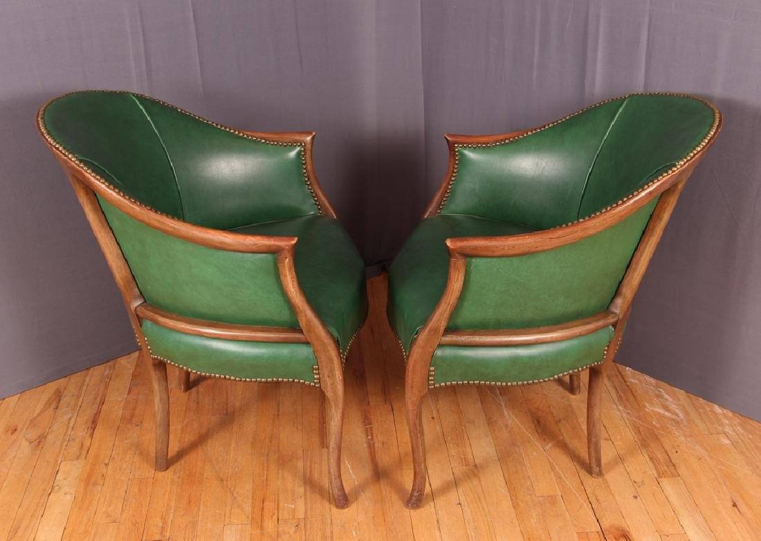 Pair of Green Leather Barrel Back Club Chairs - 2