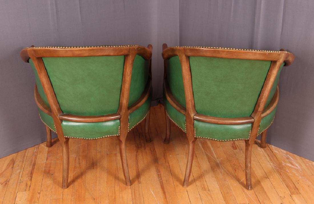 Pair of Green Leather Barrel Back Club Chairs - 3