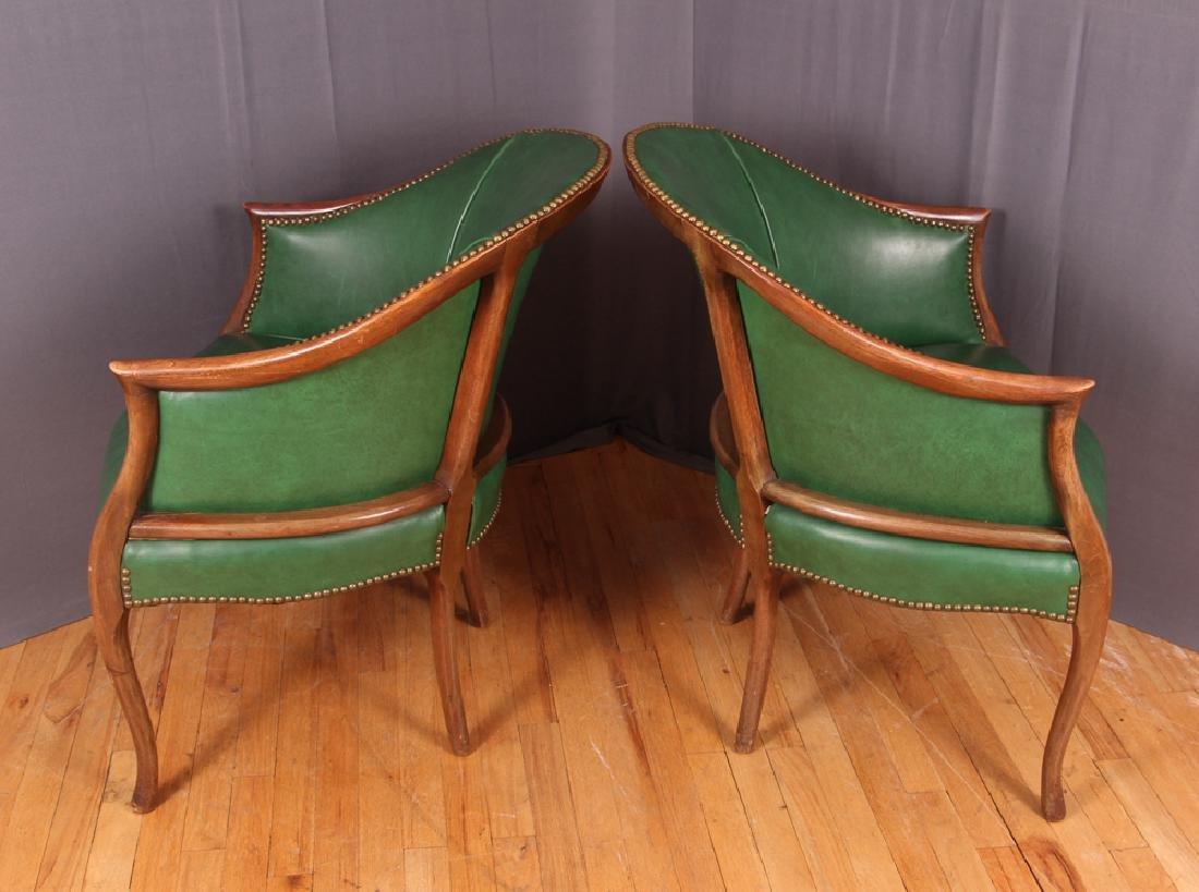 Pair of Green Leather Barrel Back Club Chairs - 4