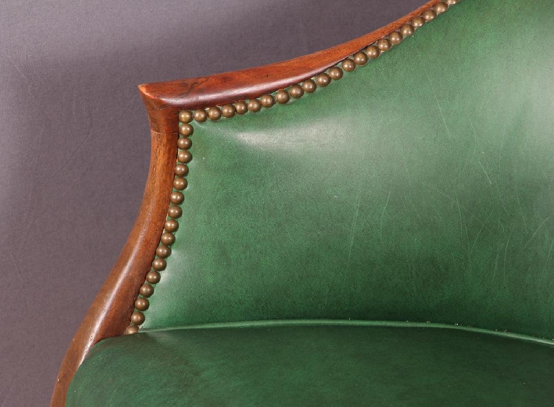 Pair of Green Leather Barrel Back Club Chairs - 5