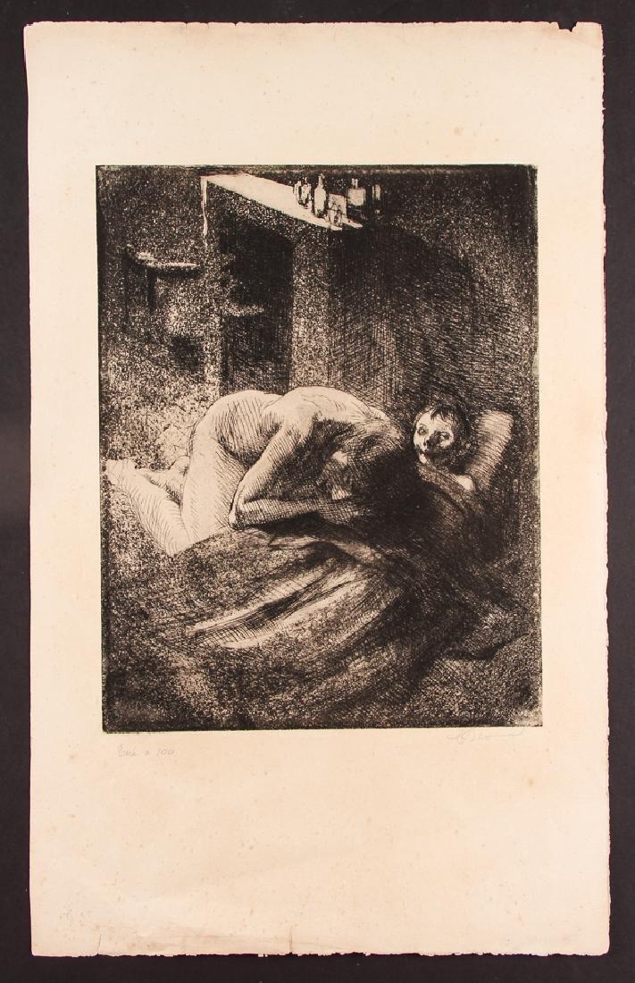 Paul-Albert Besnard 1886 etching La Misiere.