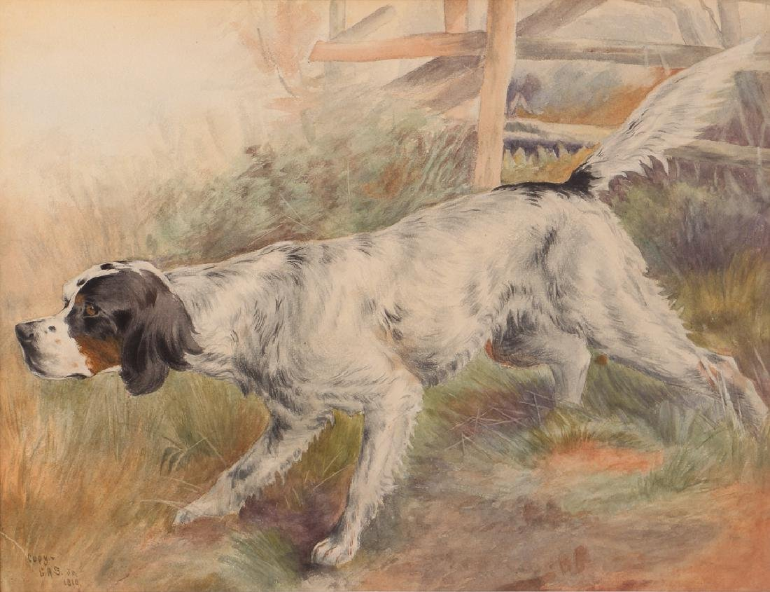 Prize Hunting Setter watercolor after 1810 painting