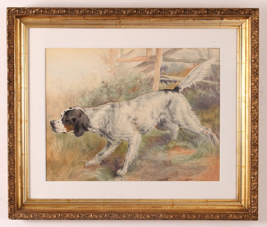 Prize Hunting Setter watercolor after 1810 painting - 2
