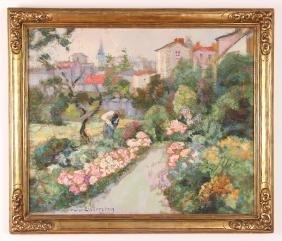 Victor Charreton Garden Scene Painting