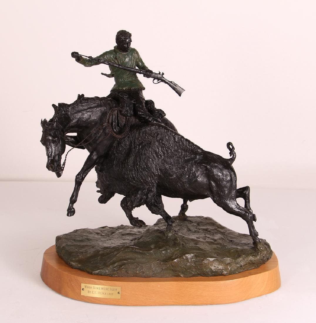 E. E. Heikka When Guns Were Slow Western Bronze
