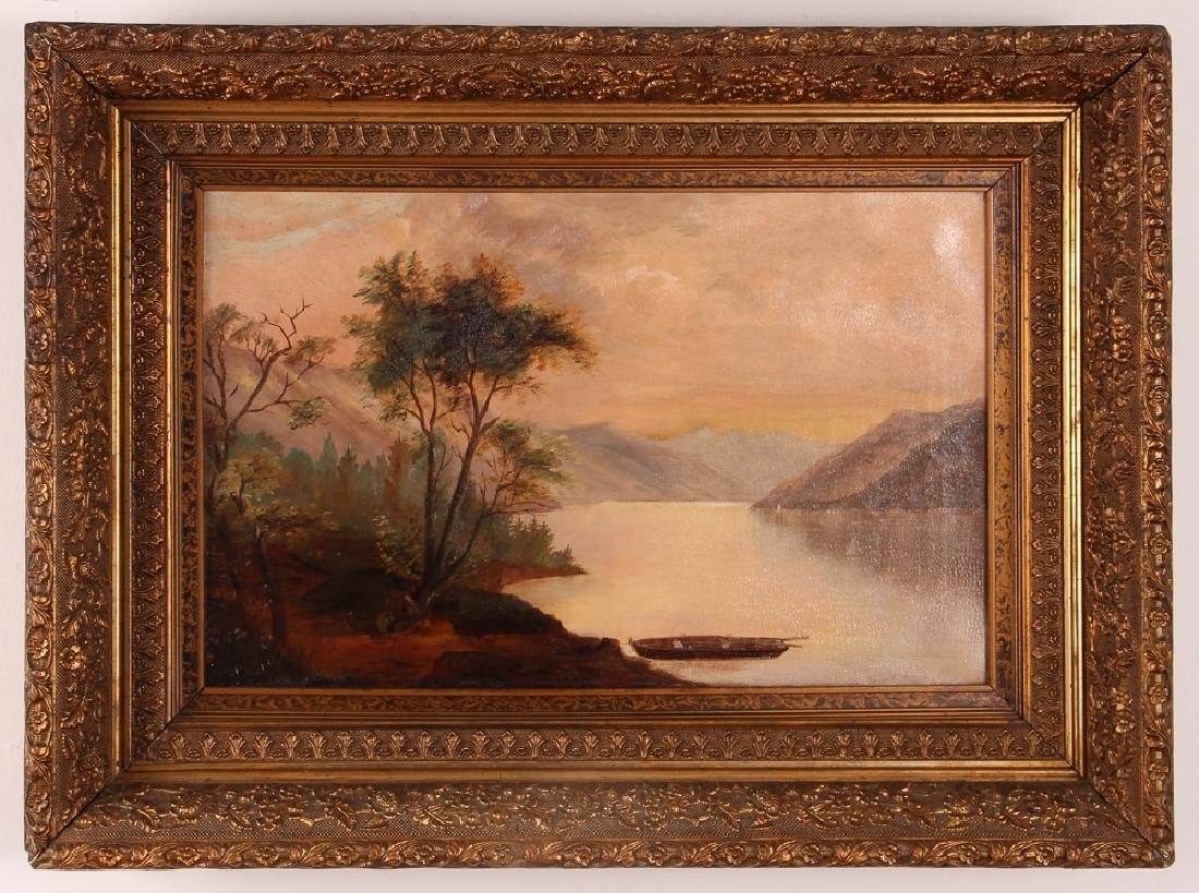 Hudson River School Landscape Riverbank at Dawn - 2