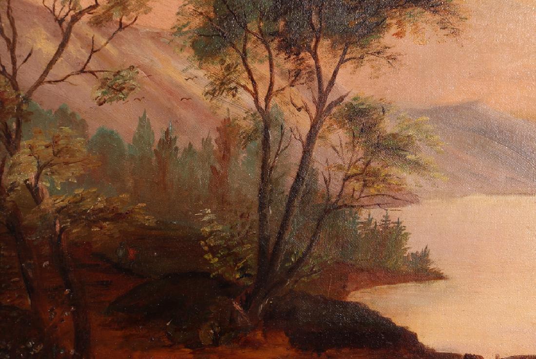 Hudson River School Landscape Riverbank at Dawn - 4