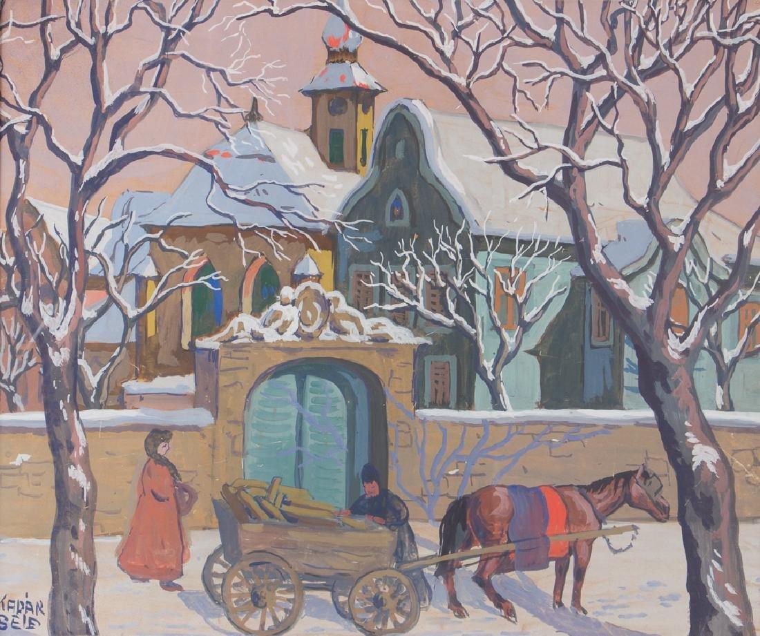 Bela Kadar gouache Eastern European Street in Winter